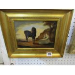 """EQUESTRIAN SCHOOL, oil on canvas """"Horses resting in the Landscape"""", 5.5"""" x 7.5"""""""