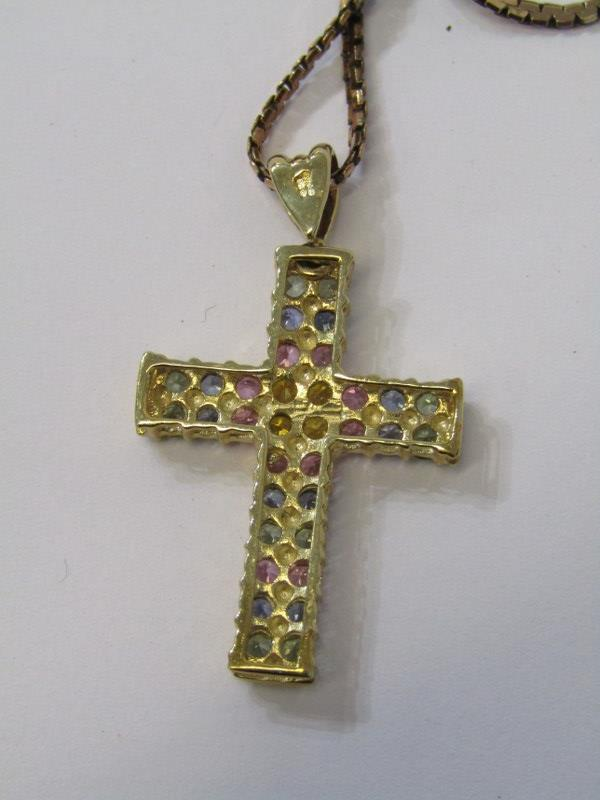 9ct YELLOW GOLD MULTI SAPPHIRE CROSS PENDANT, on 9ct yellow gold fancy necklace - Image 2 of 2