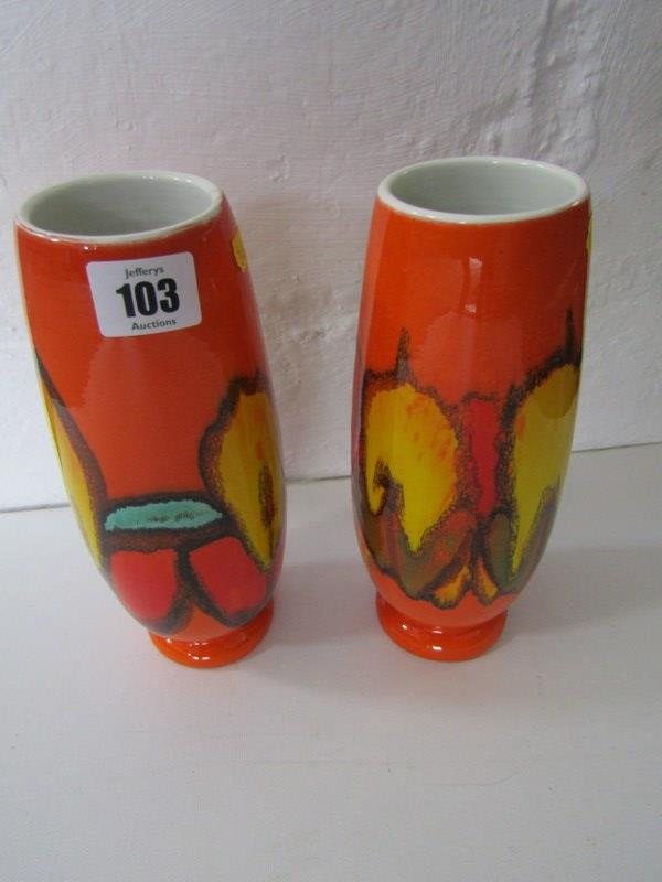 "POOLE, pair of ""Delphis"" design 9"" oviform orange ground vases"