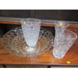 """CUT GLASS, 3 quality cut glass vases, 10"""" max height, also quality pressed glass wash bowl"""