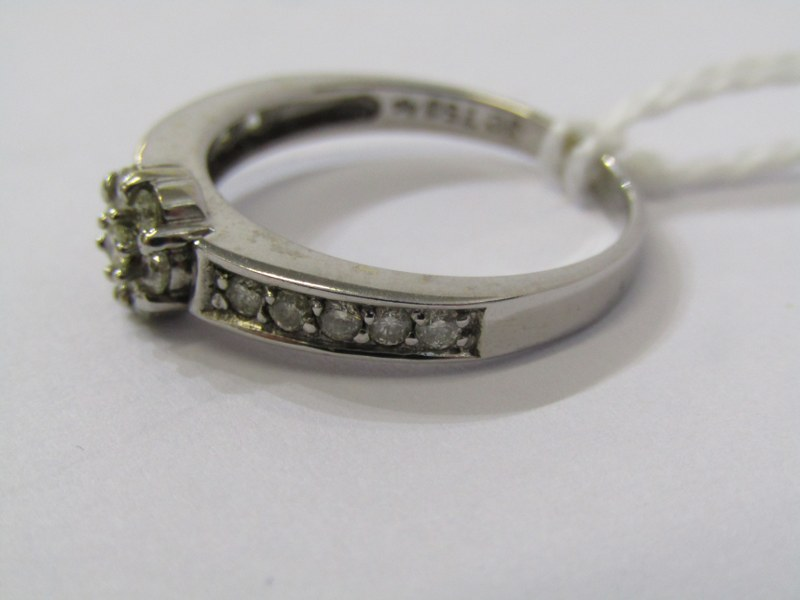 18CT WHITE GOLD DIAMOND CLUSTER RING, principal daisy style illusion set diamond cluster, further - Image 2 of 3
