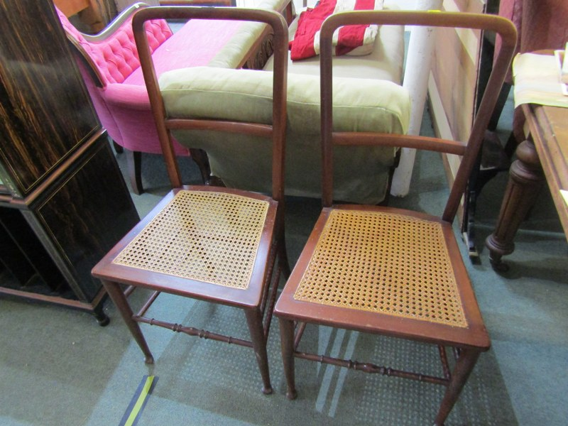 PAIR OF EDWARDIAN MAHOGANY BEDROOM CHAIRS, cane panelled seats