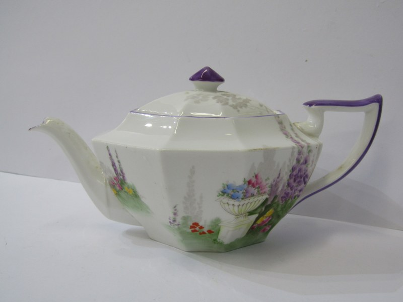 SHELLEY TEAWARE, Cabaret set of octagonal tea pot, cup & saucer, sugar bowl, cream jug and stand, - Image 2 of 4