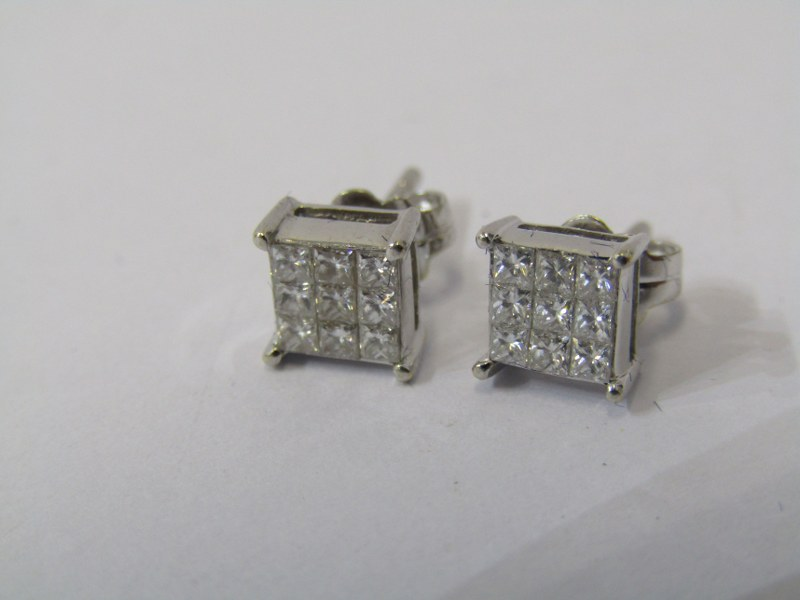 PAIR OF 18ct WHITE GOLD DIAMOND SQUARE FORM CLUSTER EARRINGS, each earring containing 9 well matched