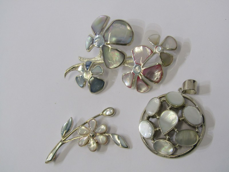 SILVER & MOTHER OF PEARL JEWELLERY, 1 large floral pattern silver & mother of pearl brooch & 2
