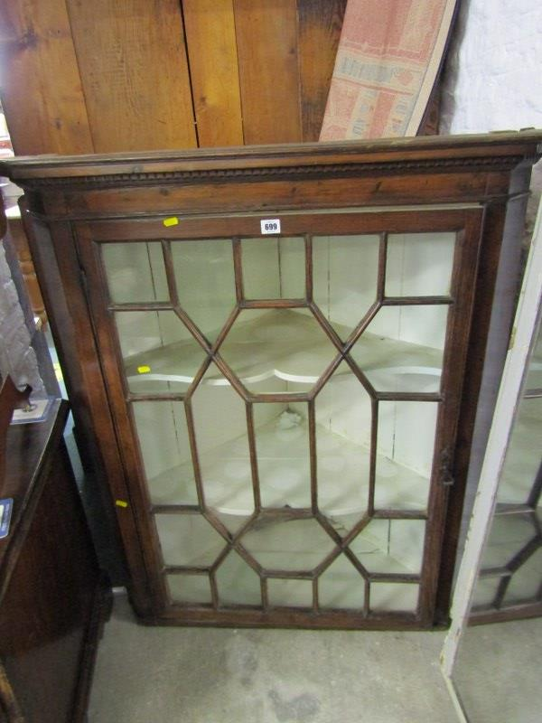 PROVINCIAL GEORGIAN HANGING GLAZED CORNER CABINET, period cast metal handle with glazing in the
