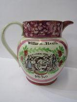 "SUNDERLAND POTTERY, pink lustre 9"" jug, inscribed ""William Heath 1830"", with Iron Bridge and Farmers"
