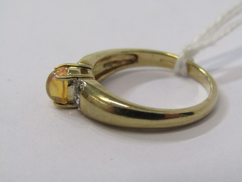 9CT YELLOW GOLD JELLY OPAL SOLITAIRE RING, principal oval cabochon cut jelly opal with diamonds to - Image 2 of 3