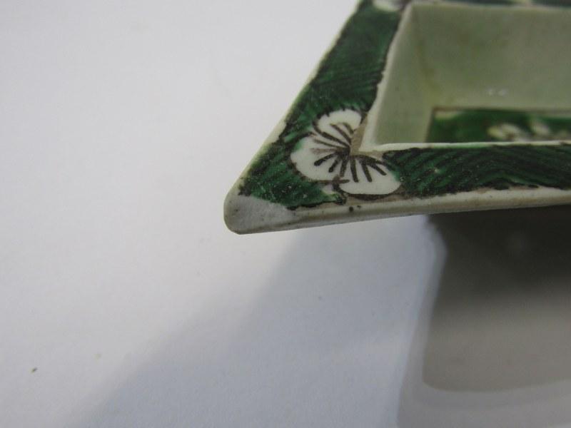 "ORIENTAL CERAMICS, floral encrusted 5"" lidded vase (rim damage) Famille Verte small hor d'oeuvres - Image 16 of 19"