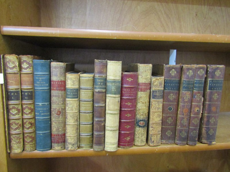 """LEATHER BOUND BOOKS, John Milton """"Paradise Lost"""", 1790, 9th edition in 2 volumes, together with """""""