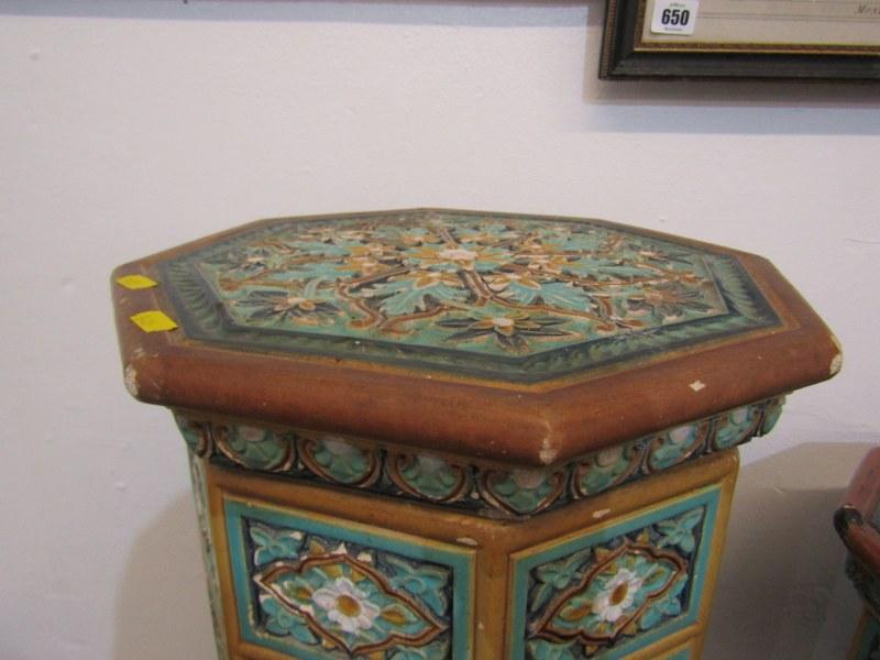 "MAJOLICA GARDEN SEATS, 2 Minton-style Persian design octagonal garden seats, 1 25"" height, other - Image 3 of 7"