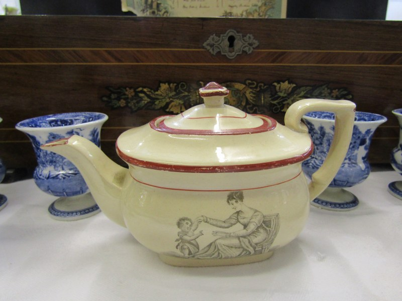 REGENCY MINIATURE PORCELAIN TEA POT, collection of 7 Willow Pattern egg cups, also 2 early Delft - Image 2 of 6