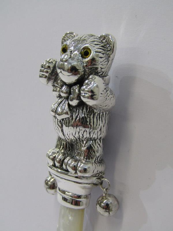 SILVER TEDDY BEAR BABY RATTLE - Image 2 of 2