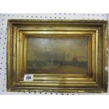 """19th CENTURY MARINE SCHOOL, oil on board """"Entering the Harbour with steamship on Horizon"""","""