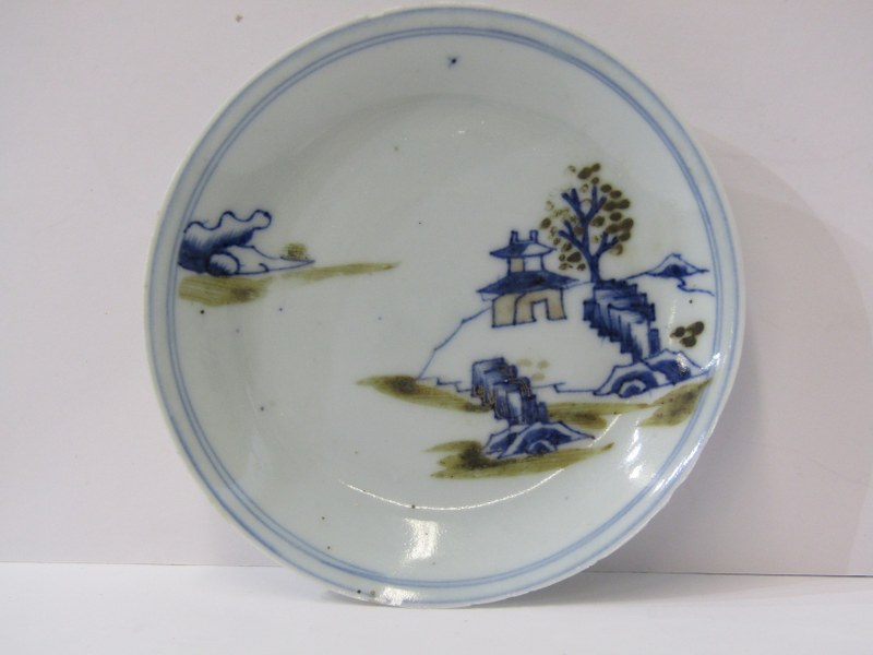 "ORIENTAL CERAMICS, NanKing Cargo saucer, decorated underglaze blue ""Riverside Dwelling"", 4.5"" dia"