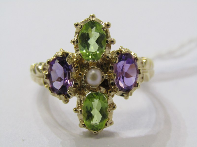 9CT YELLOW GOLD SUFFRAGETTE STYLE RING, amethyst, peridot & seed pearl giving the purple, green &