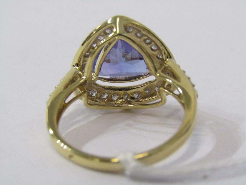 18ct YELLOW GOLD TANZANITE & DIAMOND RING, principal trillion cut tanzanite in excess of 2cts, - Image 3 of 3
