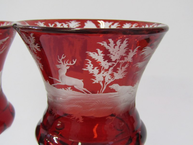 BOHEMIAN GLASS, pair of 19th Century etched ruby glass goblets, with decorated with stag hunts - Image 2 of 5