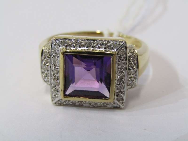 9ct YELLOW GOLD AMETHYST & DIAMOND CLUSTER RING, principal square cut amethyst surrounded by
