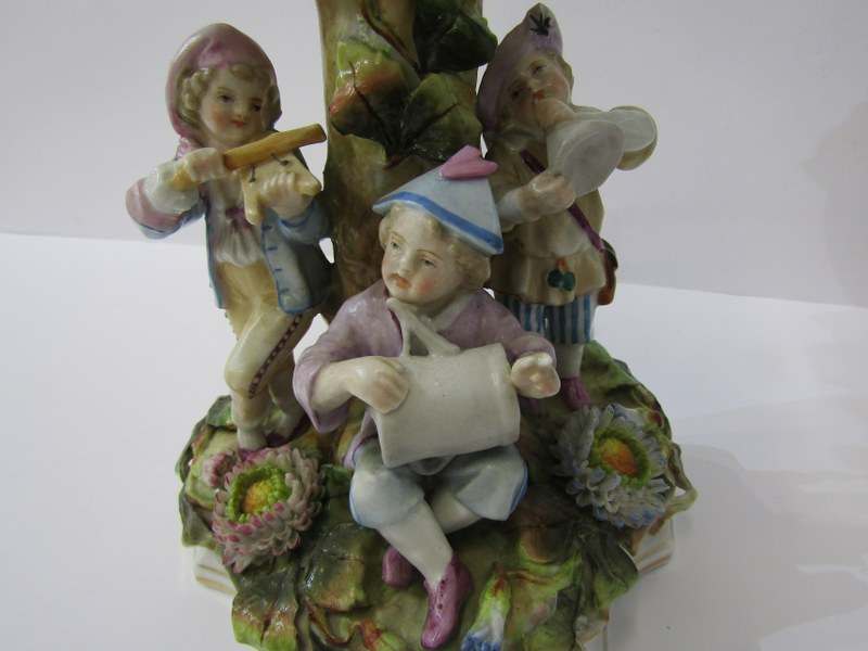 CONTINENTAL PORCELAIN, Thuringian-style figure based comport, floral encrusted with child musician - Image 3 of 3