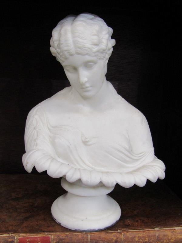 "PARIAN, 19th Century Copeland Parian bust of Clytie after Delfech, 9"" height"