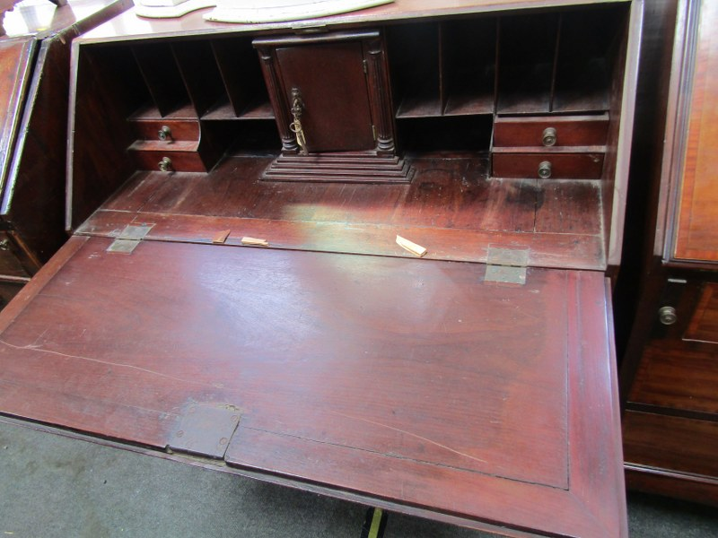 LATE GEORGIAN MAHOGANY BUREAU, 4 long graduated drawers with brass fretwork backplate handles and - Image 2 of 2