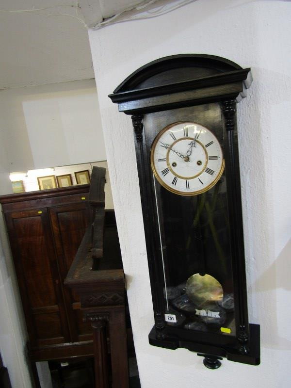 "REGULATOR CLOCK, ebonised case narrow bodied regulator clock with enamelled face, 33"" height"