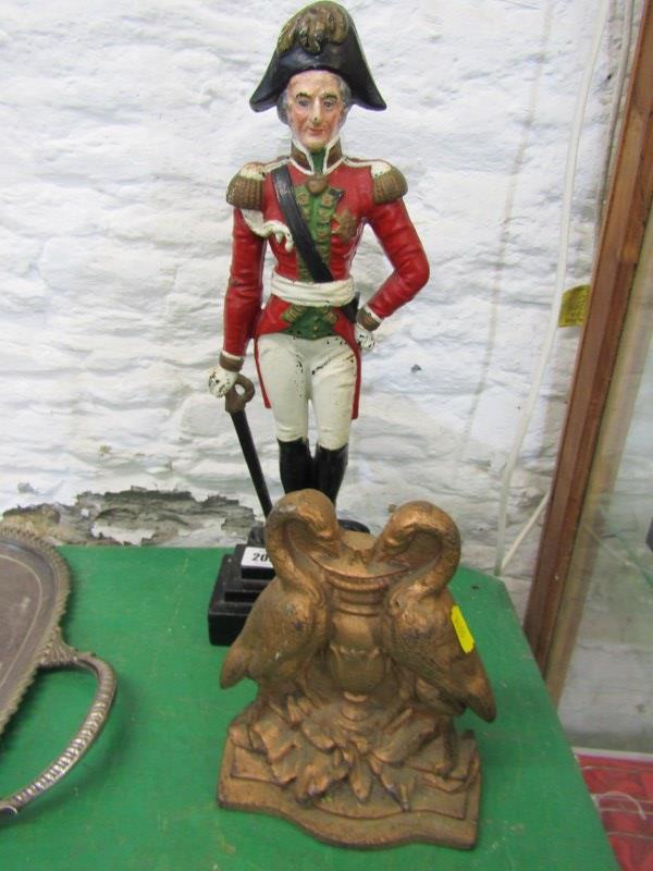 DUKE OF WELLINGTON, enamelled cast iron door stop depicting the Duke, together with Victorian bird