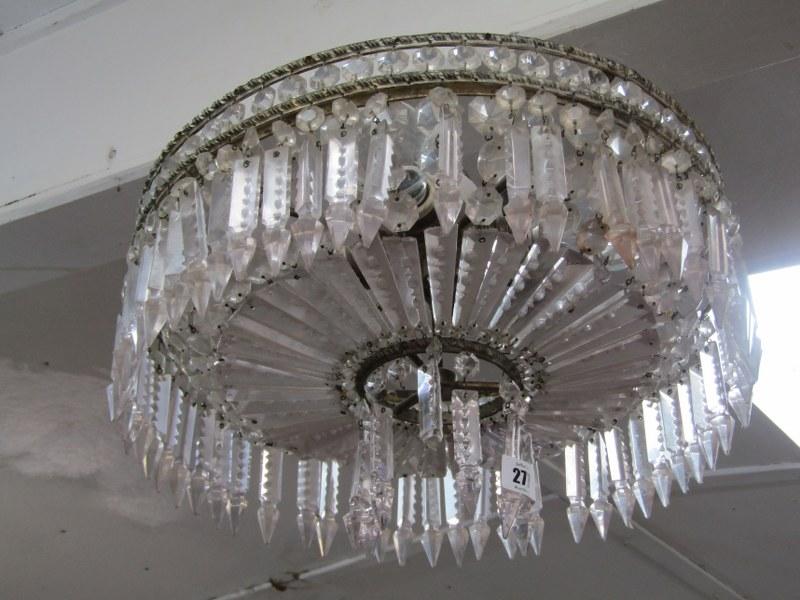 "LIGHTING, vintage glass lustre circular electrolier, 16"" dia"