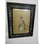"ORIENTAL ART, pair of fine signed Japanese paintings on silk ""Geishas playing Koto and Flute"", 13"" x"