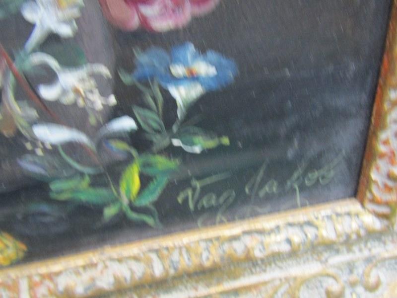 "STILL LIFE, oil on board ""Dutch Style Still Life - Vase of Flowers"", signed Van Jakob, 9.5"" x 7"" - Image 2 of 2"