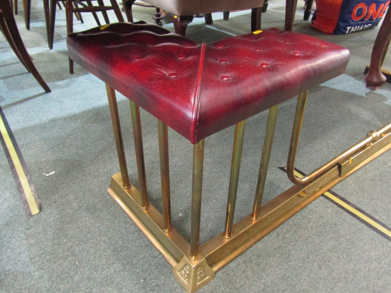"ANTIQUE CLUB FENDER, red leather button upholstered seats on brass column supports, 67"" width - Image 2 of 3"