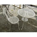 BISTRO TABLE, white painted cast aluminium circular bistro table with matching chair, table 24""