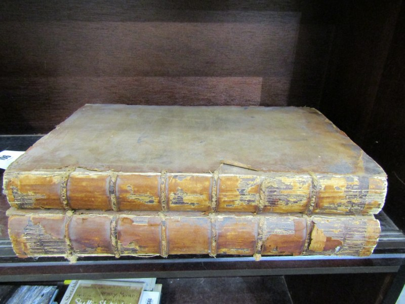 18th Century Bible, 1775 in 2 volumes with worn period leather bindings