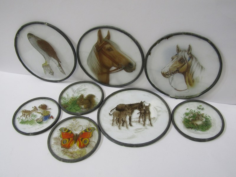 GLASSWARE, collection of 4 animal decorated leaded glass circular window panes and 3 others, max dia