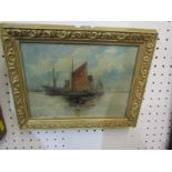 """STYLE OF EDWIN FLETCHER, indistinctly signed oil on canvas """"Sailing Ships and Freighter off the"""