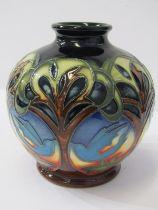 "MOORCROFT, signed limited edition 2010 spherical 4.5"" vase ""Blue Bird"" pattern"