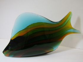 """CZECHOSLOVAKIAN GLASS, """"Rainbow Fish"""", 13"""" length, etched mark to base, together with similar"""