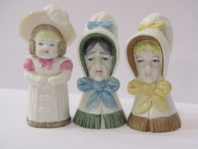 """ROYAL WORCESTER CANDLE SNUFFERS, collection of 3 snuffers of """"Young Girl"""", """"Feathered Hat"""" and """""""
