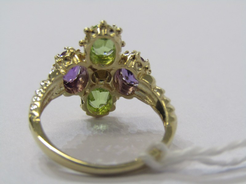 9CT YELLOW GOLD SUFFRAGETTE STYLE RING, amethyst, peridot & seed pearl giving the purple, green & - Image 3 of 3