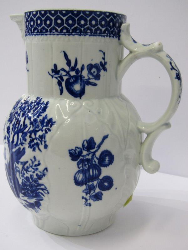 """18th CENTURY WORCESTER, Porcelain """"Parrot pecking Fruit"""" pattern cabbage leaf and mask lipped 7"""" jug - Image 2 of 4"""