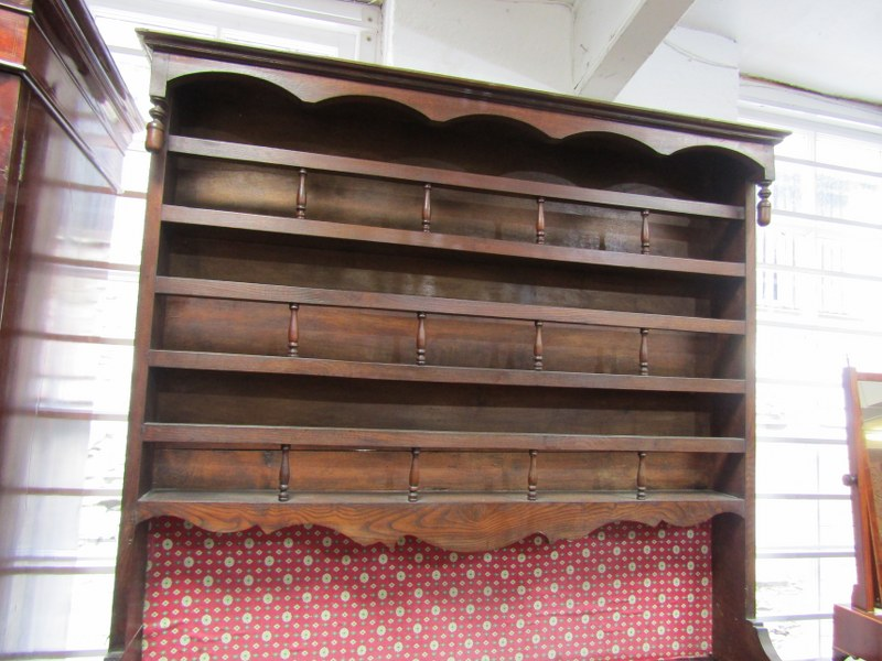 19TH CENTURY FRENCH DRESSER, open shelf plate rack with spindle gallery above twin cupboard and twin - Image 2 of 3