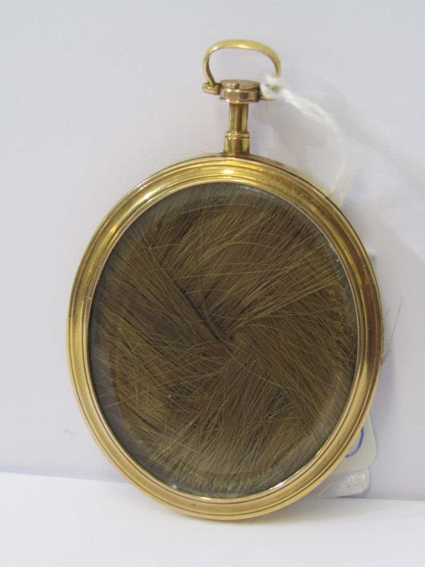 DOUBLE SIDED GOLD FRAMED PICTURE LOCKET with miniature of Young Lady, to the reverse her hair behind - Image 2 of 2