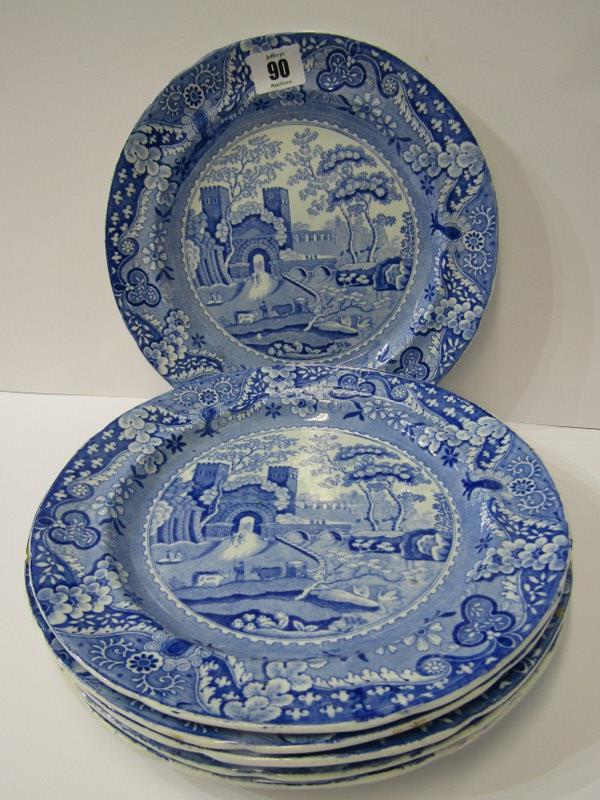 """ANTIQUE WELSH POTTERY BLUE TRANSFERWARE, set of 6 """"Gateway"""" pattern 10"""" plates by Baker, Evans and"""
