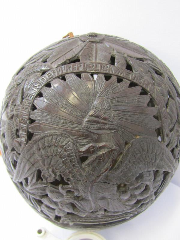 MARITIME, Bugbear carved coconut flask with pierced body depicting Bull Fighter and South American - Image 5 of 5