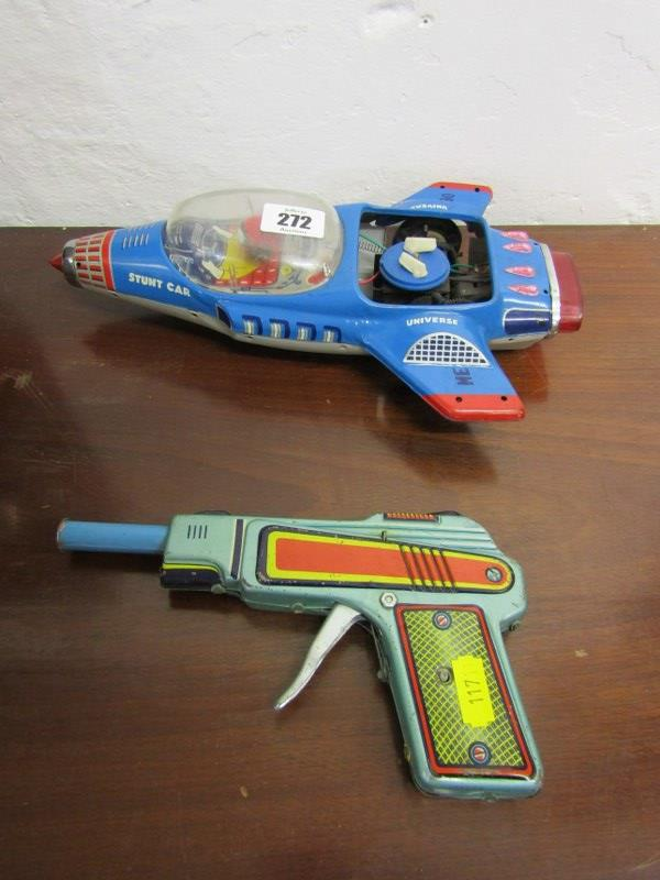"""EARLY TOYS, Universal stunt car, 11"""" length, also vintage toy pistol"""
