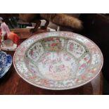 "ORIENTAL CERAMICS, 19th Century Canton 16"" deep circular bowl, crudely rivetted repair"