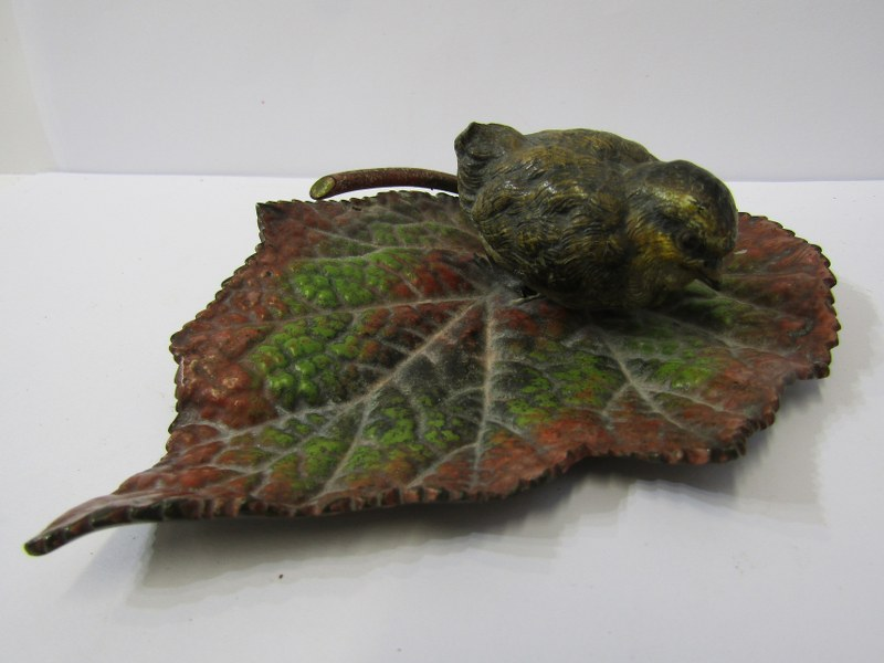 """VIENNESE COLD PAINTED BRONZE, of Chick on Begonia leaf, 5"""" width"""