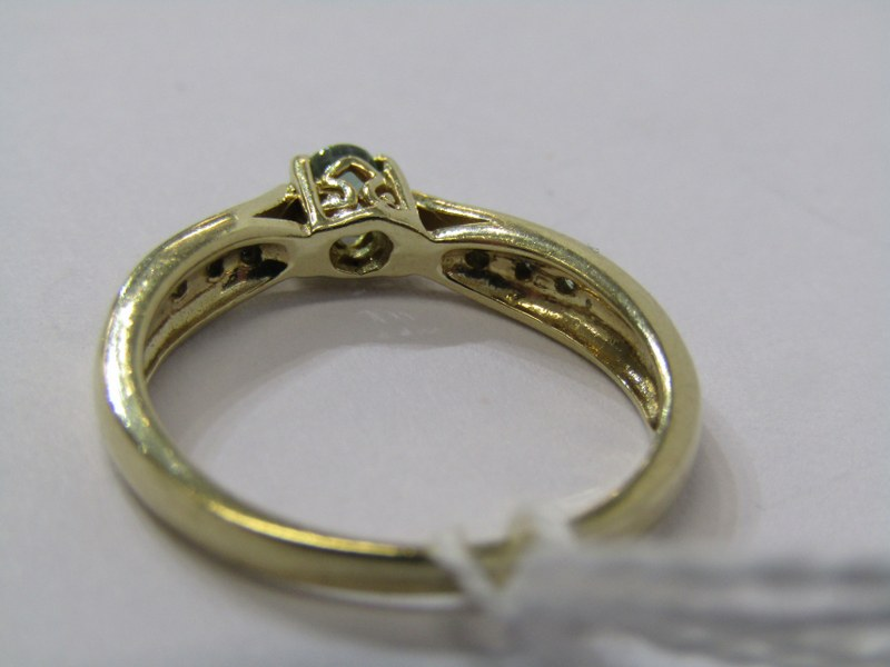 9CT YELLOW GOLD EMERALD SOLITAIRE RING, principal brilliant cut emerald in 4 claw setting with - Image 4 of 4