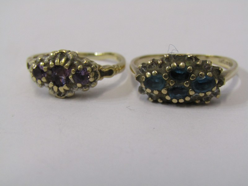 2 x 9ct YELLOW GOLD RINGS, one amethyst the other blue topaz
